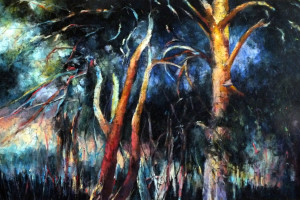 Krynica – sosny, pastel, 54×84