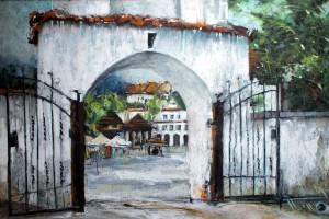 Kazimierz Dolny – widok na rynek, pastel, 54×84