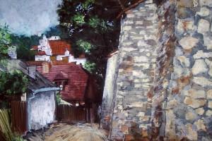 Kazimierz Dolny – widok na farę, pastel, 54×84