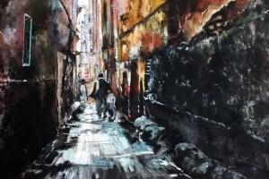 Paryska starówka, pastel, 54×84