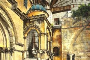 Jerozolima – Bazylika Grobu Pańskiego, pastel, 54×84
