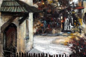 Kazimierz Dolny, mały rynek, pastel, 30×40