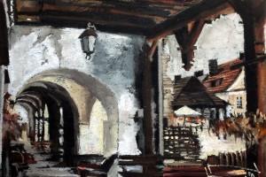 Kazimierz Dolny, rynek, pastel, 30×40