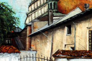 Lublin – Klasztor Ojców Dominikanów, pastel, 54×84