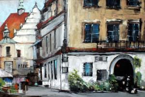 Lublin – rynek i kościół Dominikanów, pastel, 54×84