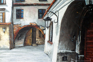 Lublin, rynek, pastel, 54×84
