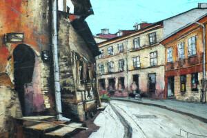 Lublin – ul. Rybna, pastel, 54×84
